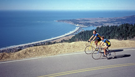 Jobst Brandt with son Olaf on Bolinas Ridge Road, 1985