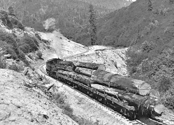 Shay locomotive on the Haul Road in the 1940s