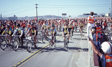 1986 Bike Rally in San Francisco on I-280