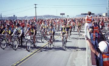 1986 Bike Rally in San Francisco on I-280