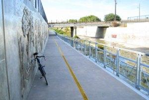 San Tomas Aquino Creek Trail at the Caltrain underpass