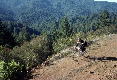 Jim Westby rides down Ward Road in 1989, back when it was still a road.