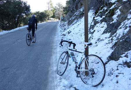 A rider approaches the Mt. Hamilton summit on Dec. 31, 2012. Happy New Year.
