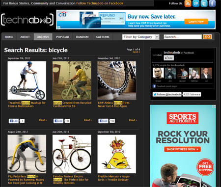 Technobob has a section on bicycle innovations.