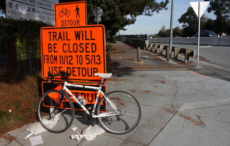 San Tomas Aquino Creek Trail will be closed during construction hours near Cabrillo until May 13.