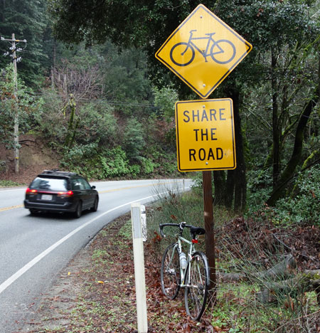 Share the Road signs can be found on Hwy 9.