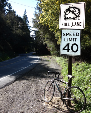 New bike sign doesn't sit well with one driver in the Santa Cruz Mountains on San Jose-Soquel Road.