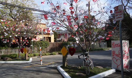 A Valentine's Day surprise for cyclists on Bryant Street's Ellen Fletcher bicycle boulevard in Palo Alto.