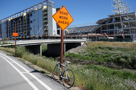 San Tomas Aquino Creek recreation path will be closed at the new stadium starting April 15. A detour will be in effect for a year.