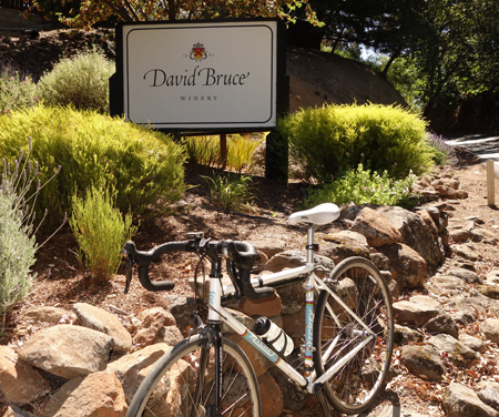 David Bruce knows how to make a fine wine. End of the climb on Bear Creek Road.