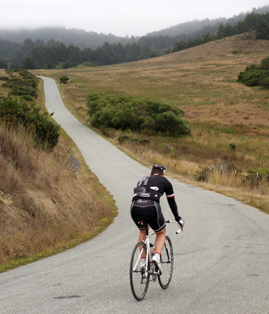 Gary Westby rides toward the coast on Cloverdale Road.