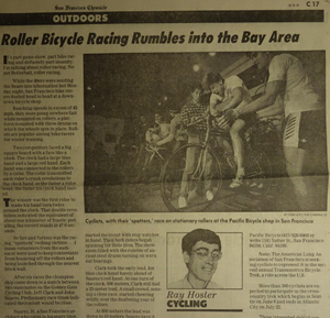 Roller racing in San Francisco was featured in the San Francisco Chronicle, Dec. 17, 1987