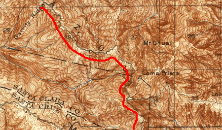 Loma Prieta Road on a 1919 USGS map