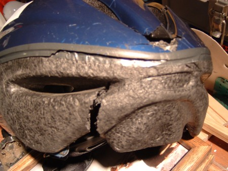 My helmet after a crank failed while I was sprinting.