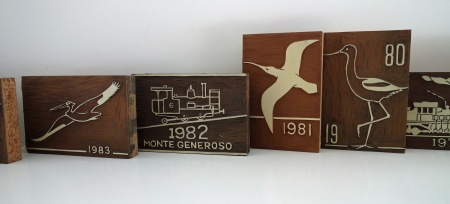 Jobst Brandt woodblock carvings from the 1980s. There's something wrong with this photo. Guess.