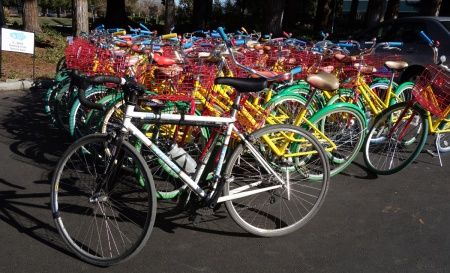 Google encourages bike riding around campus. Way to go. Google bikes.