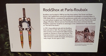 RockShox would have come in handy at the Tour de France yesterday. Los Altos History Museum display.