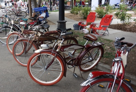Schwinn bikes on parade at Kelley Park.