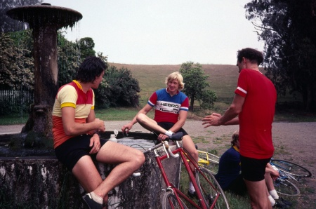 Tom Ritchey, Peter Johnson and Jobst Brandt discuss the meaning of life. Note that Jobst was riding a Ritchey bike at this time. Later bikes were made by Peter.