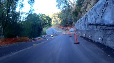 The narrows, about a mile up from Saratoga on Hwy 9, has been widened. Good news for cars and bikes.