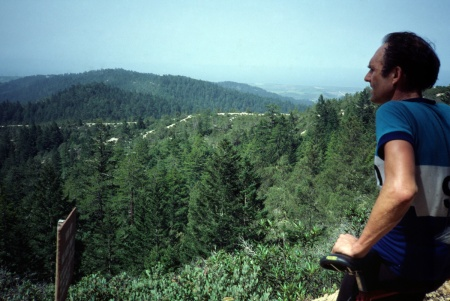 One of my favorite photos of Jobst, taken on Butano Ridge Trail looking toward the Pacific Ocean. 1981.