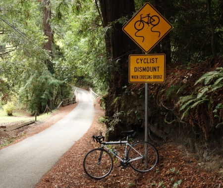 Wurr Road's Pescadero Creek bridge makes it pretty clear you need to cross with caution.