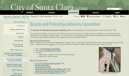 Bike and pedestrian committee information is found on the Santa Clara website.