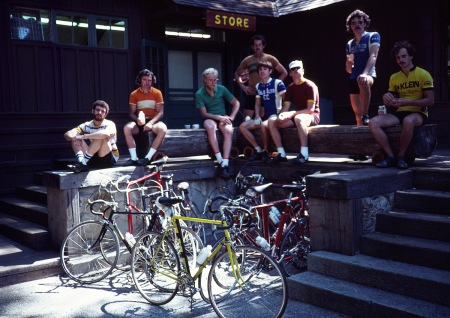 June 7, 1981, Corn Roast ride through Big Basin State Park. Just after Jobst abandoned sew-ups. From left: Roger ?, Jim Westby, Parker McComas, Rick Humphreys, Ray Hosler, Dan Green, Tom Ritchey, Tom Holmes.