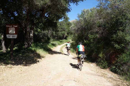Testing our gears on Indians Road. Start of the steep stuff.