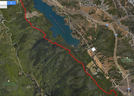 Old Canada Road (shown in red) would make a great multi-use trail. (Google map image)