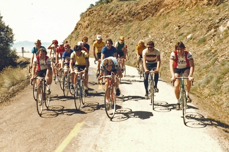Eastern descent of Mt. Hamilton, April 12, 1981. No helmets here. (Jobst Brandt photo)