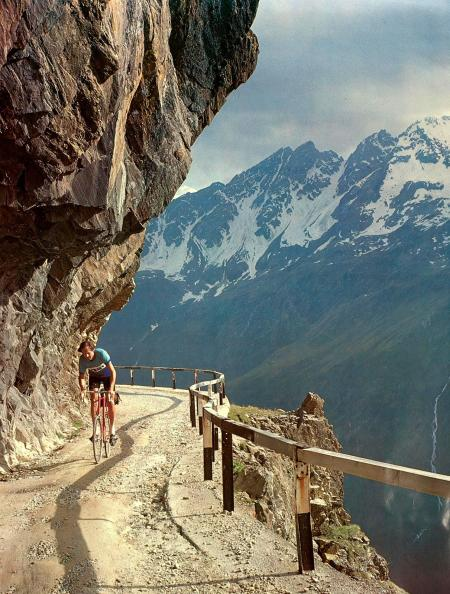 Jobst Brandt rides up Gavia Pass, Italy. Made into a poster.(Rick Lyman photo, 1978)