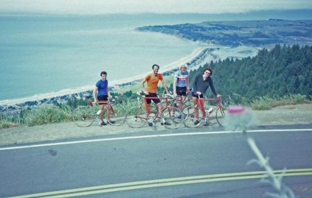 Ridgecrest Boulevard overlooking Stinson Beach. John Pinaglia, Jobst Brandt, Parker McComas, Tom Ritchey.