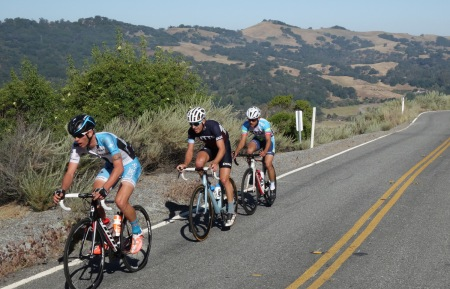 Leaders in the Mt. Hamilton Road Race. Not far ahead of the peloton.