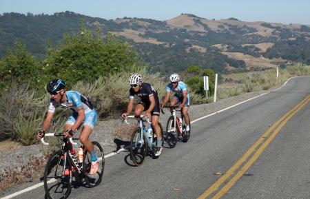 Leaders in the Mt. Hamilton Road Race. Not far ahead of the peloton.