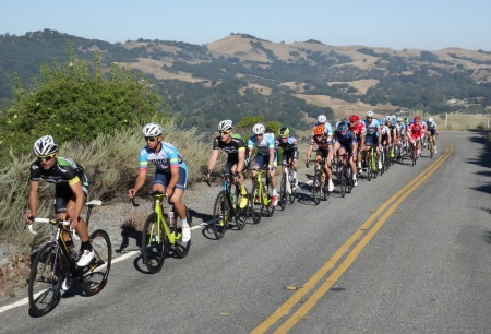 Racers pursue the breakaway at Mt. Hamilton.