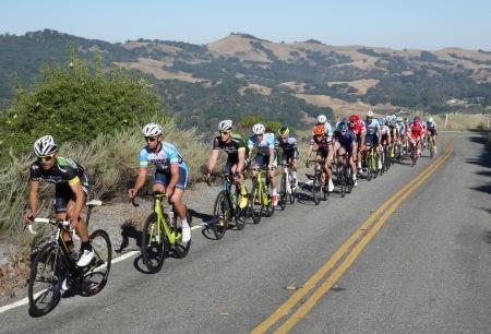 Racers pursue the breakaway at Mt. Hamilton.