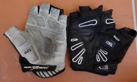 Pearl Izumi Elite gloves have too much gel for my hands. Older model, right, felt better on long rides.