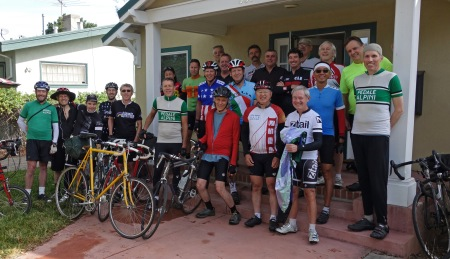 Jobst Riders prepare to set off on the celebratory ride from Palo Alto. (Chuck Morehouse photo)