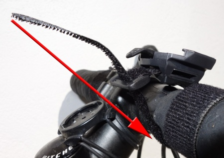 A close-up showing how the strap mounts to the handlebar.