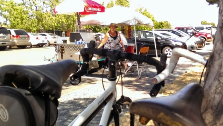 Enjoying my time at Lisa's Hot Dog stand waiting for a ride home from Alviso after retrieving my stolen bike.