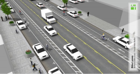 Buffered bike lanes are being considered for El Camino Real, Menlo Park.