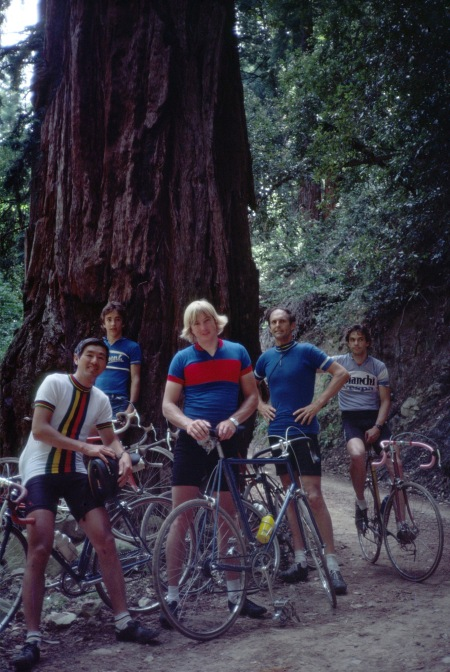 Riders from left: Ted Mock, Olaf Brandt, Peter Johnson, Jobst Brandt, Paul Mittlestadt, stop for a drink of water at the giant redwood tree near McKenzie Reservoir.