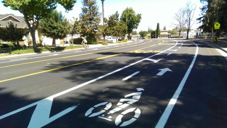 Moorpark Avenue in West San Jose on a road diet. I had the road all to myself.
