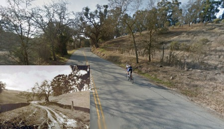 Arastradero Road in 1930, inset, and today.