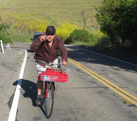 Marc Brandt rides up Mt. Hamilton Road in 2008 on a gearless bike.
