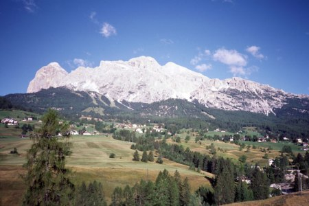 Cortina d'Ampezzo on a clear morning.