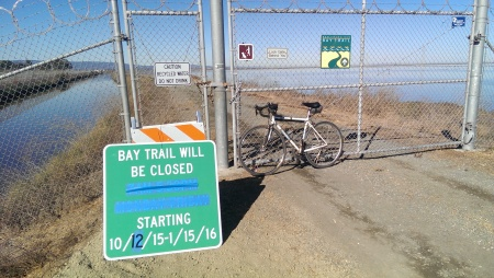 Bay Trail at Moffett Field is closed for resurfacing.