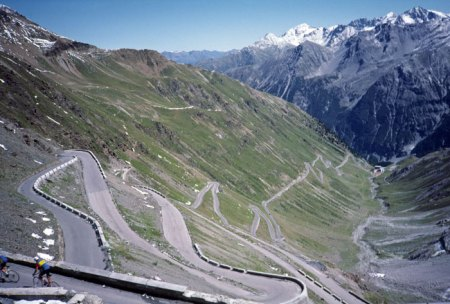 Famous Stelvio Pass descent.