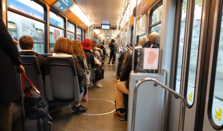 Tram interiors are roomy and accommodate luggage.